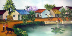 Village with a Lily Pond