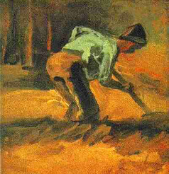 Man Stooping with Stick or Spade
