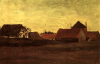 Farmhouses in Loosduinen near The Hague at Twilight